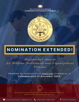 2020 Presidential Awards For Filipino Individuals and Organizations Overseas